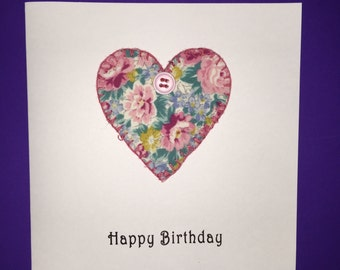 Pink Floral Heart with Button Birthday Card