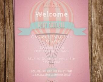 Hot Air Balloon Baby Girl Shower Invite #1 5x7