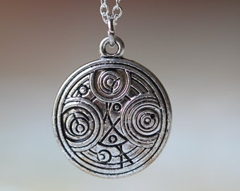 antique silver Ancient Symbol Interpreted Necklace Doctor Who inspired time lord jewelry