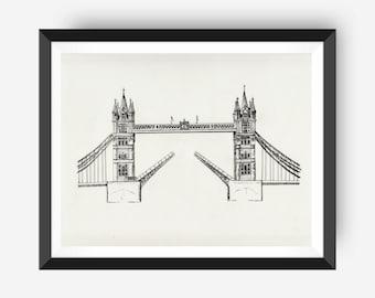 London Art Print, Travel Art Wall Decor: Tower Bridge