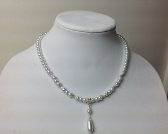 Bridal Pearl Necklace, bridesmaid drop Necklace, Pearl Bridal Necklace, single strand Bridal jewelry, Wedding Jewelry, Bridesmaid gift