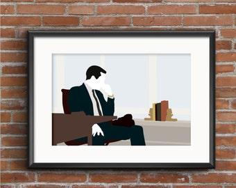 Mad Men Poster - Mad Men Print - Don Draper Poster - Don Draper Print - Jon Hamm Poster - Geek Gift - TV Poster - Mad Men Wall Art Decor