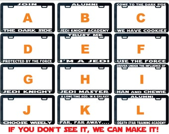 Join The Dark Side license plate frame Star Assorted Jedi other car ride Protected Personalized The Force Darth Vader Jedi Alumni Handmade