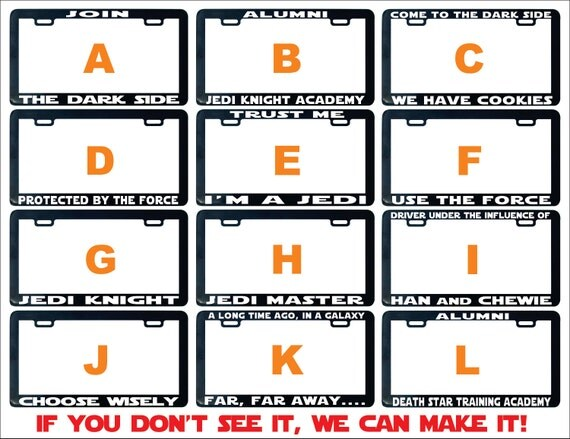 Join The Dark Side License Plate Frame Star Assorted Jedi
