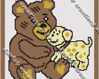 Teddy with puppy dog crochet graph