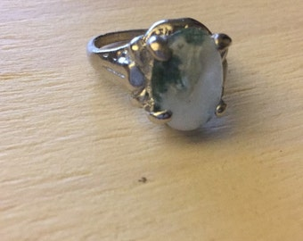 Blue and White Crystal Ring- Size 8.5