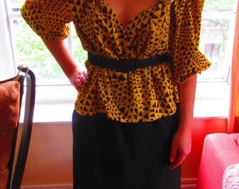 Yellow Geometric Print Shirt Dress