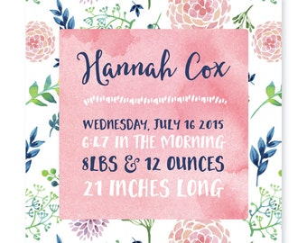 Watercolor Birth Announcement DIY PRINTABLE for baby GIRL