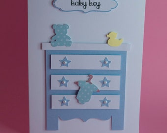Baby Set of Drawers Handmade New Baby card, Baby Shower Card, new baby boy card, new baby girl card, new baby congratulations