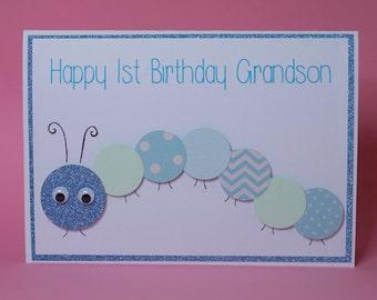 Caterpillar Handmade Children's Birthday Card