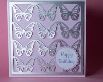 12 Silver Butterflies Handmade Birthday Card