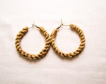 Textile hoop earrings. Textile hoops earrings.