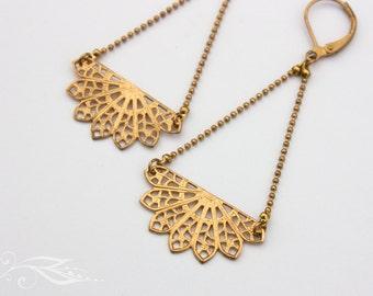 Small fan - earrings in brass