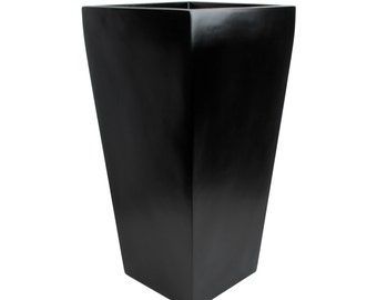 Windsor Tall Square Modern Planter - Black. Made from hand laid fiberglass. For Indoor and outdoor garden use. Various sizes available.