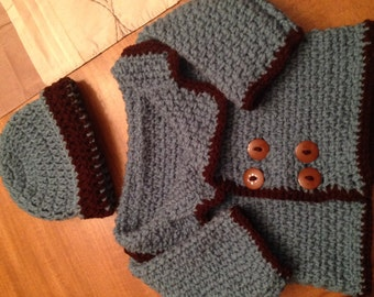 Crochet baby sweater and hat set. Custom colors are available., baby item, sweater set, baby boy sweater set, baby boy item