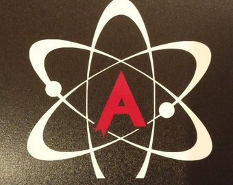 American Atheist symbol 2 color RED, WHITE window sticker decal
