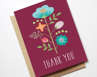 Floral Illustrated Thank You Card // Digital Download // Printable
