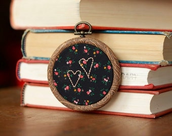 Miniature Embroidery - Two Hearts Are Better Than One