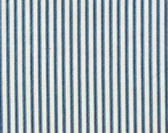 Gathered Bedskirt Nautical Blue Ticking Stripe