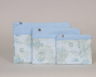 3-piece zipper pouch set: Blue floral with blue band