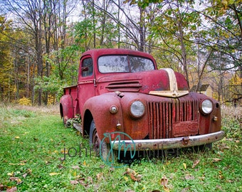 Red Truck, Truck, Rural Decay,  Urban Decay, Abandoned,  Wall Decor, Home Decor, Fine art print, Fine art photography, Photography