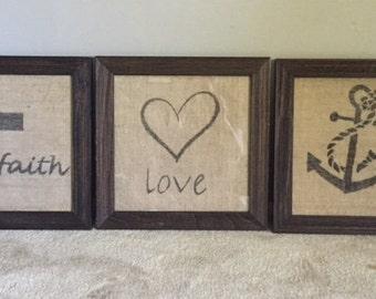"""Burlap """"Hope"""", """"Love"""", & """"Faith"""""""