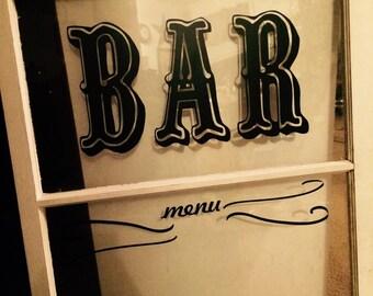 Bar menu window for your rustic wedding