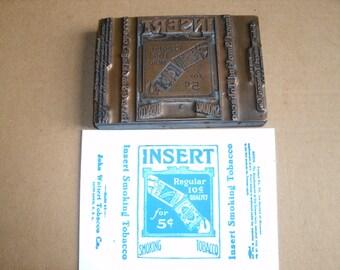 Antique Printing block forTobacco tins