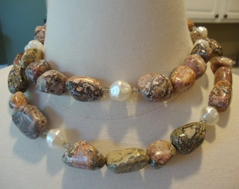 Sterling Silver Clasp, Natural Stones and Pearls Long Necklace