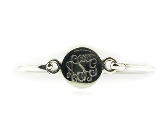 Monogrammed .925 Sterling Silver Hinged Baby Bracelet Personalized Engraved