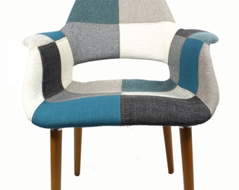Organic Arm Chair (Blue&Gray Patchwork)