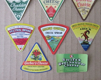 8 Vintage Paper Cheese Labels Food Labels Assorted Vintage Ephemera  Group D