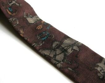 skinny brown 1950s square tie . horse & buggy novelty print mens necktie, Burdine's store for men