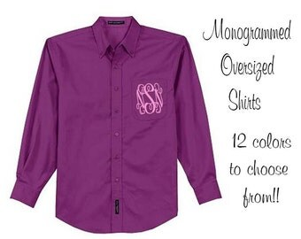Monogrammed Oversized Bridal Party Shirt Set of 12 Personalized Oversized Shirt, Bridesmaids Gift, Bachelorette Party