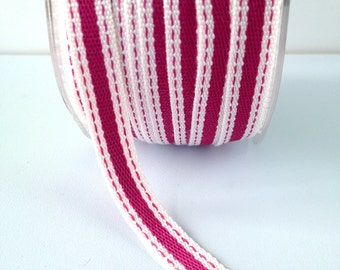 """Striped Ribbon 3/8"""" Wide - Fuchsia with Ivory Border - Woven Fabric Ribbon with Stitched Edge 5 Yards"""