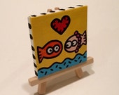 Tickles Goldfish and Baby Dumpling 3x3 Minipop Painting