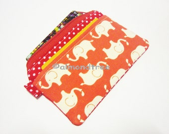 Elephant cardholder wallet, women zipper purse id1360949, gift for her, work id small coin pouch, business card holder, portefeuille