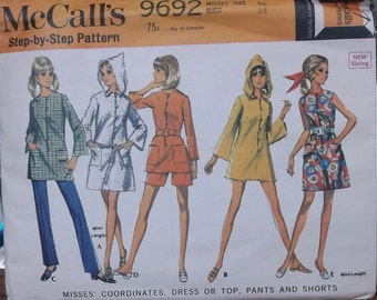 Vintage 60s Mod Mini Hoodie Dress or Top with Shorts and Pants with side zipper Sewing Pattern / McCall's 9692 // 38 Bust
