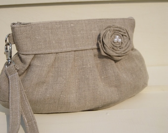 BRIDAL CLUTCH, natural linen, rosette, wristlet