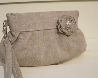 BRIDAL LINEN CLUTCH, natural linen, rosette, wristlet
