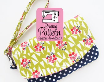Zip Pocket Pouch Wristlet PDF Pattern | Sewing Project to Make a Two Pocket Pouch with Wristlet Strap