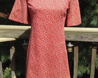 Vintage Red Cotton Print Dress Bell Sleeves