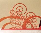 Persimmon letterpress swirl card