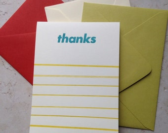 Upright folded letterpress thanks card