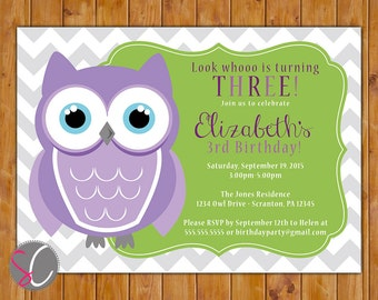 Owl Birthday Party Invitation Look Whooo's Turning One Two Three Printable Grey Chevron Purple Green Owl Invite 5x7 Digital JPG File (31)