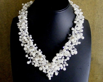 Pearl and crystal V shape necklace