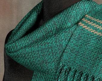 Handwoven green merino wool winter scarf