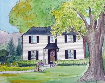 House Portrait Painting, 11 x 14 and up, Watercolor and Ink, by me, artist Robin Zebley