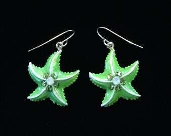 Starfish Earrings Iced Pearlized Lime Green and White with Crystal Accents
