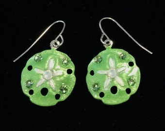 Tropical Sanddollar Earrings Handpainted in Lime Green and White